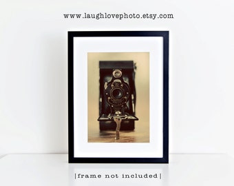Vintage Kodak Camera Photo, Photographer Collectible Picture, Retro Brownie Photography, Home Decor Wall Art Office Livingroom Geekery