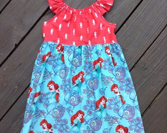 4T Little Mermaid Peasant Dress with Flutter Sleeves, Size 4T, Ready to Ship, Ariel, Disney, Little Mermaid  birthday