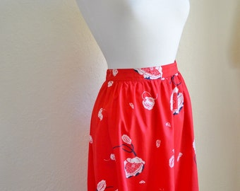 Vintage Red Spring Flirty Skirt with Pockets Butterflies Flowers Print Size Small 1970s