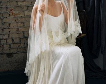 Wedding Veil, Bridal Veil, Mantilla Veil, Chapel Length French Lace Mantilla -Style 2416