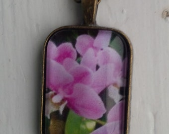 Floral Photo Pendant Necklace with Pink Flowers