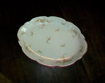 Theodore Haviland Limoges Serving Platter Pink Floral Decor Vintage