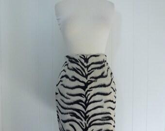 90's Zebra Faux Fur Mini Skirt New Wave Designer Niedieck High Waisted Pencil Skirt S