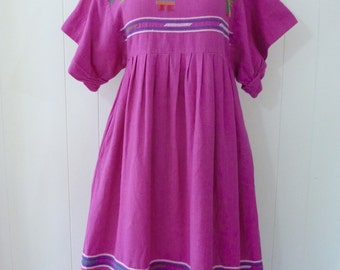 70's Guatemala Folk Dress Purple Embroidered Cotton Ethnic Midi Lounge Gown M