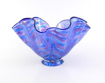 LARGE Purple Hand Blown Art Glass Bowl