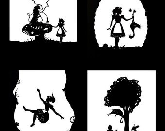 Alice in Wonderland Silhouette Print Set (8x10 or 5x7 inch prints, set of 4)
