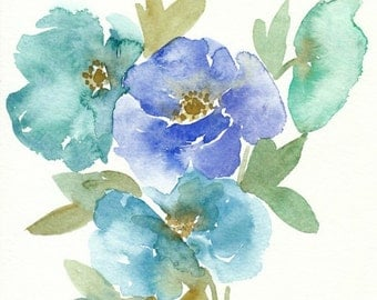 Blue and Green Poppy Flowers, original watercolor painting, 8x10,mint, blue, watercolor flowers, floral painting, spring decor, original art