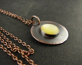Rustic copper pendant necklace. Boho chic long layering necklace. Yellow upcycled button cabochon.