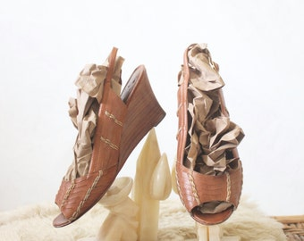 Vintage Woven Caramel Leather Sandals Wedge Heels Sz 8.5