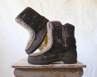 Vintage 70's Dark Chocolate Faux Fur Mukluks Boots Sz 7