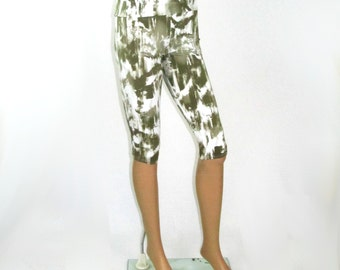 Tie Dyed Bamboo/Organic Cotton Jersey Cropped Leggings - Olive Tones - READY To SHIP - Size M/L/XL
