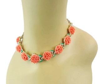 Choker Necklace Lucite Floral Jewelry Vintage Necklaces Feminine Chokers Necklaces Vintage Jewelry Coral Enamel Jewelry Carnation