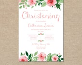 Christening Invitation, Girls Baby Babies Childrens Shabby Chic Pink Flowers Floral Watercolour – Digital file