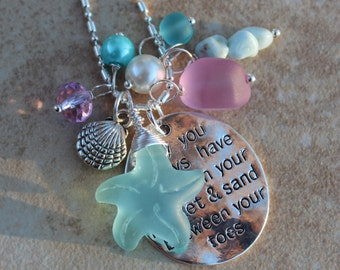 Beach Charm Necklace, sea glass Necklace, Starfish Necklace, Lavender, Aquas, Pearls, Sand Between your Toes, Inarajewels, Jewelry Gifts