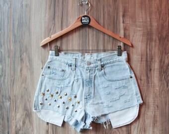 Levi high waist vintage studded denim shorts | Vintage denim shorts | Ripped distressed shorts | Hipster shorts |  Festival shorts |