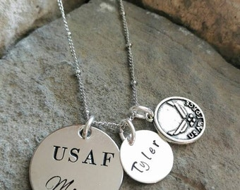 Air Force Necklace - Air Force Mom Necklace - Military Necklace - USAF Necklace - USAF Charm - Armed Forces Necklace - Custom Charm Necklace