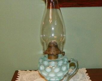 Antique Victorian OIL LAMP LANTERN Finger Art Glass Blue Coin Spot Dot opal Opalescent