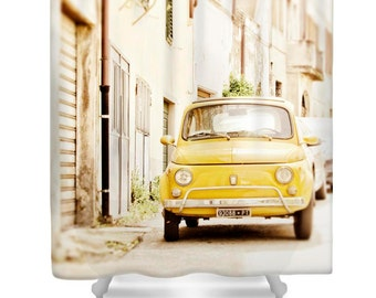 Shower Curtain, Car, Fiat 500, Yellow, Italy, Bathroom Decor, Bath Decoration, Photography, Photo, Spring, Boho Shower Curtain, Home Decor