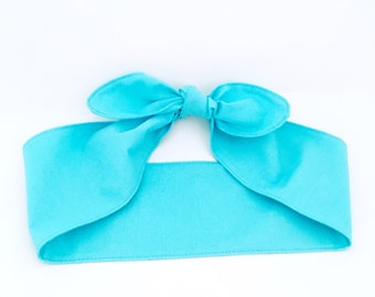 Cotton Handmade headband TURQUOISE