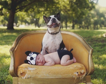 Crochet Boston Terrier Puppy Dog Baby Hat and Diaper Cover Photography Prop