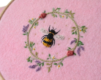 Bee Flower Wreath Embroidery