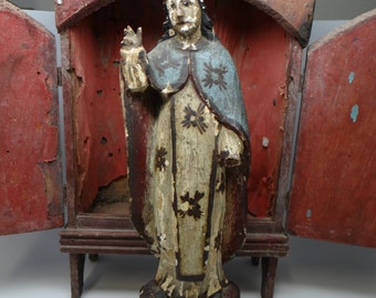 1800's Virgin Mary Santos, Antique Polychrome Hand Carved Madonna Bulto, Wearing Crown