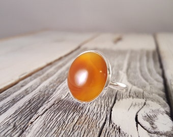Waves - Amber Natural Agate Dome Statement Ring
