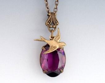 Amethyst Purple Swarovski Crystal Necklace, Purple Crystal Jewelry, Bird Necklace, Purple Rhinestone Necklace Brass, Drop Necklace, Freja