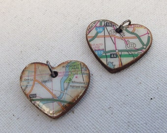 2 handmade Heart map charms / jewelry supplies / mixed media / upcycled / altered art / repurposed / craft supplies / jewelry charms