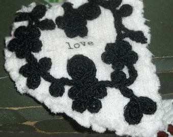 Fabric brooch, love pin, handmade pin, up-cycled pin, textile art, heart, floral, love, black, white, ArtFromTheCabin