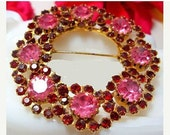 "Celebrity Brooch Pin Signed Pink Red Rhinestones Gold Metal Wreath 2 1/4"" Vintage"