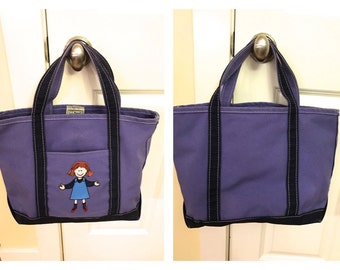 Vintage LL BEAN Boat and Tote Kids Preschool Day Care Bag Children's Tote Bag embroidered girl child Lavender Navy Heavy Durable Canvas