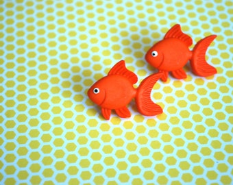 Goldfish Earring Studs -- Goldfish, Goldfish Studs, Gold fish Earrings