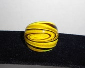 Yellow and Brown Swirl Glass Ring