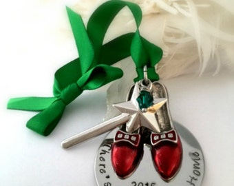 Christmas Ornament There's no place like Home ~  Ruby Slippers Magic Wand Emerald Ribbon 2016 Christmas Decor