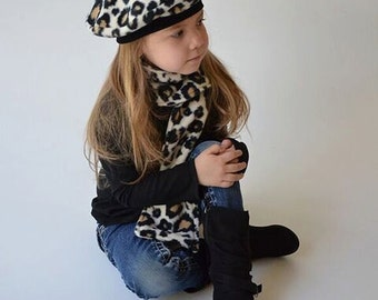 French Beret Matching Scarf Kids Hats Animal Print Fleece Christmas Winter French Beret Toddler Hat Outer Wear Photo Prop by DebsKidstuff