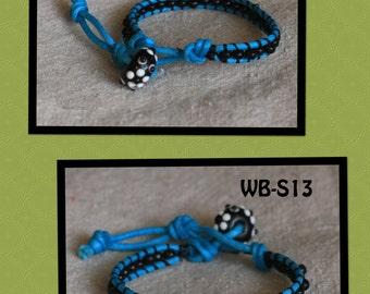 WB-S13 single beaded wrap bracelet - turquoise waxed cotton and black wood beads