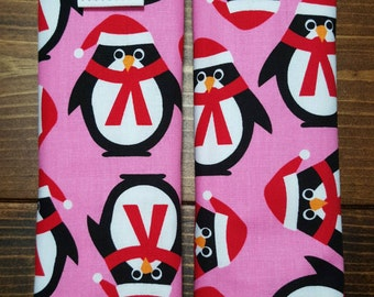 Reversible TODDLER Car Seat Strap Covers Ann Kelle Jingle Penguins on Pink with Paris Pink Dimple Cuddle Minky Baby Girl ITEM #035