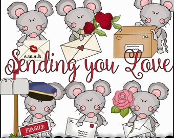 Digital Valentine Clip Art Collection Scruffy Mouse Theme - Cheryl Seslar - Love Clipart