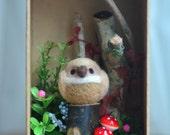 Woodland owl diorama, handmade bird figurine in forest shadow box, miniature needle felt owl doll, home decor ornament, gift under 30