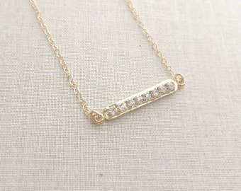 Gold Bar Necklace In 14K Gold Filled Chain, Crystal Bar Necklace, Minimal Necklace, Layering Necklace, Gift for Her, Christmas Gift for Mom