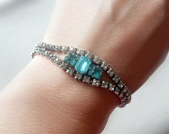 Blue Art Deco Bracelet - Vintage Rhinestone Bracelet - Something Blue - Bridal Jewelry - Vintage Wedding - Larger Wrist