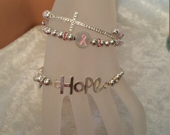 "Crystal CROSS 7 - 71/2"" AWARENESS bracelet"