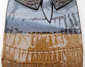 "Ceramic Owl Wall Hanging - Owl Wall Art - Ceramic Owl Wall Tile - SECOND - Ceramic Owl Home Decor -  Owl Home or Office Decor - ""Horatio"""
