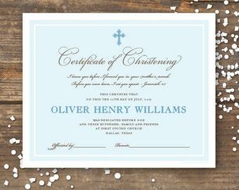 Christening or Baptism Certificate Keepsake Printable - Monogram - Baby Boy