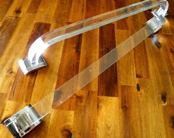 "Pair of Mid Century Lucite Towel Bars--20-1/8"" Long x 3"" Wide--Original Chrome Hardware Included"