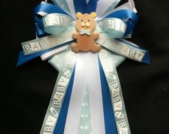 Baby shower corsage Sale /FREE shipping for just 9.99/Beautiful COLD PORCELAIN Teddy Bear with bow tie