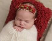 Newborn Photo Prop - Newborn Headband: Newborn Tieback, Newborn Flower Crown, Newborn Halo, Organic Photography Props, Red, Green, Natural