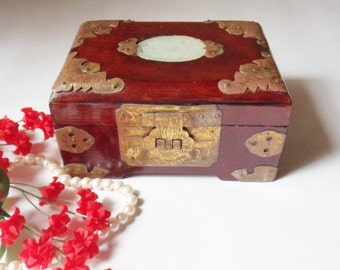 Rosewood White Jade Jewelry Box, Shanghai China Red Lacquer Box with Ornate Brass