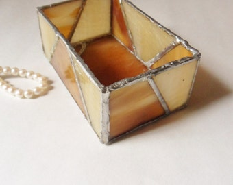 Hand Leaded Slag Glass Box, Handmade Stained Glass Box